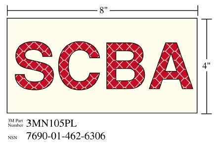 "3M™ Photoluminescent Film 6900, Shipboard Sign 3MN104PL, 4 in x 13 in, ""SCBA"", 10/Package"