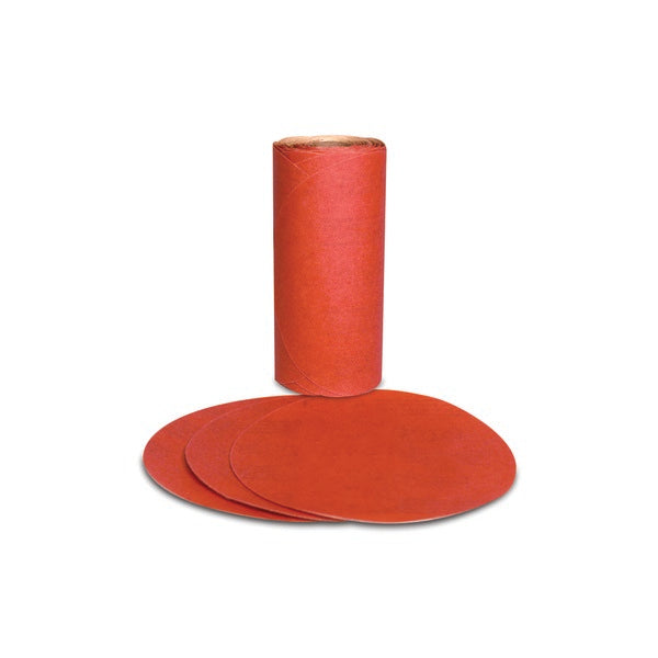 3M™ Red Abrasive PSA Disc, 01610, 5 in, P80, 100 discs per roll, 6 rolls per case