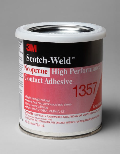 3M™ Neoprene High Performance Contact Adhesive 1357, Gray-Green, 1 Pint Can, 12/case