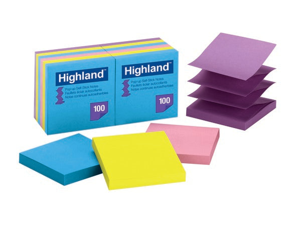 Highland™ Pop-up Self Stick Notes 6549-PuB, 3 in x 3 in (7.62 cm x 7.62 cm)