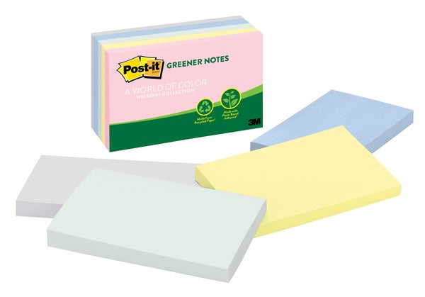 Post-it® Greener Notes 655-RP-A, 3 in x 5 in (76 mm x 127 mm) Helsinki Collection