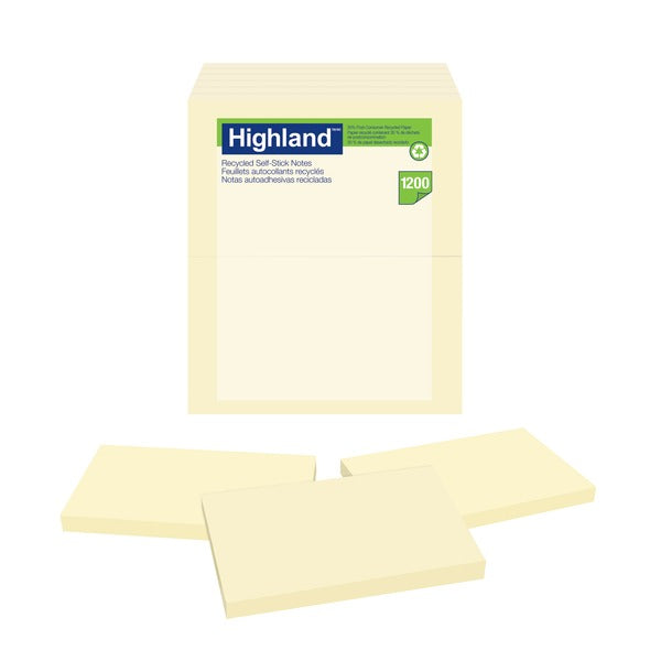 Highland™ Notes 6559RP, 3 in x 5 in (76 mm x 127 mm) 30% recycled paper