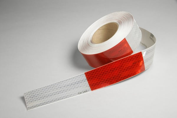 3M™ Flexible Prismatic Conspicuity Markings 963-32 Red/White, CBR Logo, 2 in x 50 yd