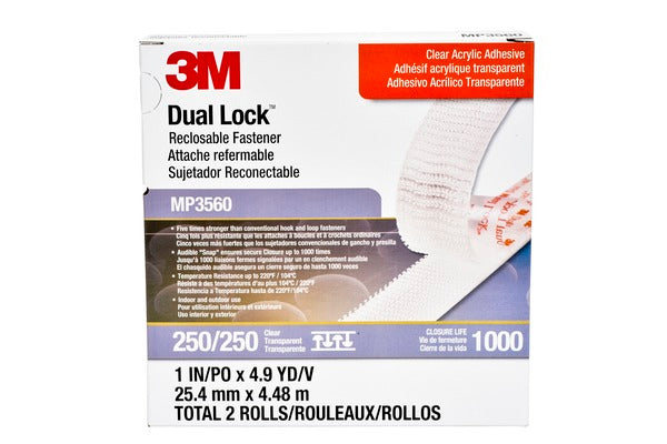 3M™ Dual Lock™ Reclosable Fastener MP3560, Clear, 1 in x 5 yd, Type 250, 2 per pack, 5 per case, PN06463