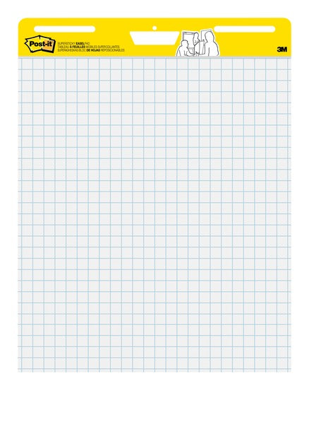 Post-it® Super Sticky Easel Pad 560 VAD 4PK, 25 in. x 30 in., Blue Grid