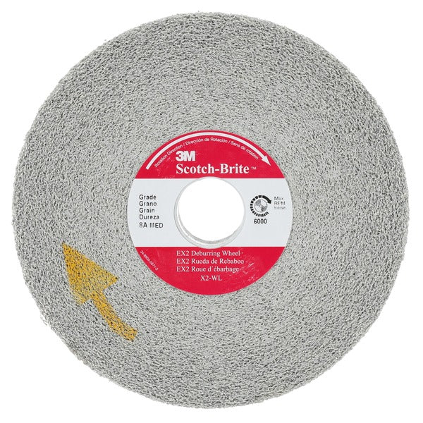 Scotch-Brite™ EX2 Deburring Wheel, X2-WL, 8S Medium, 8 in x 2 in x 3 in, 2 per case