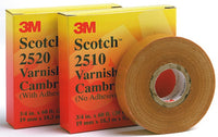 Scotch® Varnished Cambric Tape 2520, 1 in x 36 yd, Yellow, 36 rolls/Case