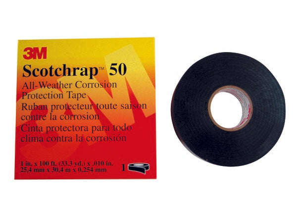 3M™ Scotchrap™ Vinyl Corrosion Protection Tape 50, 1 in x 100 ft, Unprinted, Black, 1 roll/carton, 10 rolls/Case