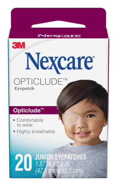 Nexcare™ Opticlude™ Orthoptic Eyepatch 1537, Junior, 2.44 in x 1.81 in (62 mm x 46 mm) 20 Patches/Box