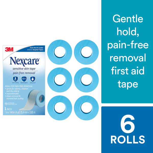 Nexcare™ Sensitive Skin Tape SLT-SIOC, 1 in x 4 yd (25,4 mm x 3,65 m), 6 pack