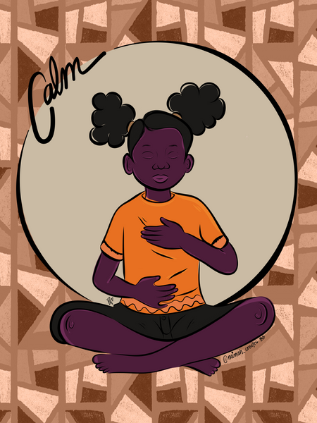Black girls are calm. Child seated with hand over heart and the hand over their belly, wearing orange shirt and black pants.  With mosaic brown background
