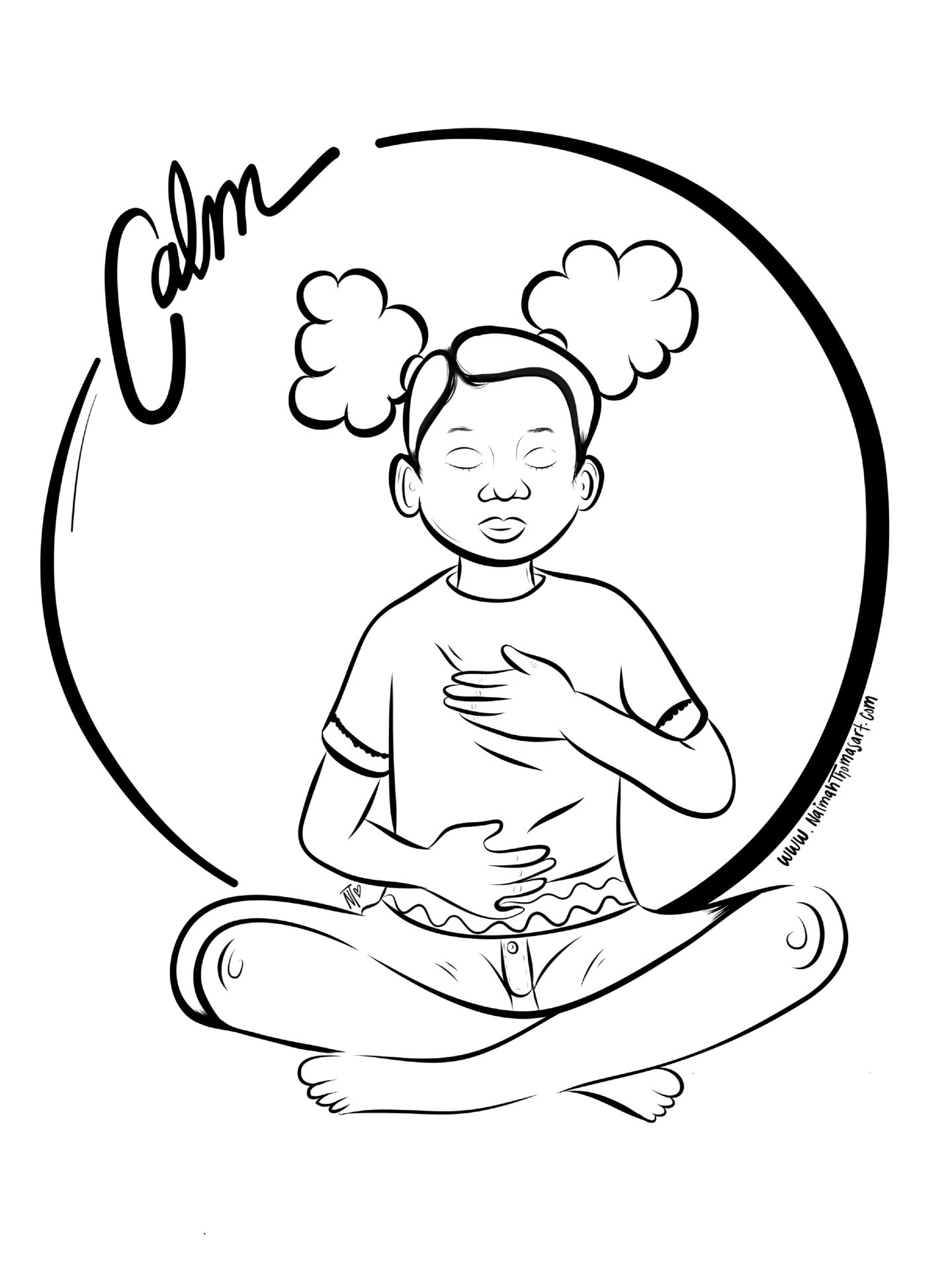 Calm Black Girl Coloring Page