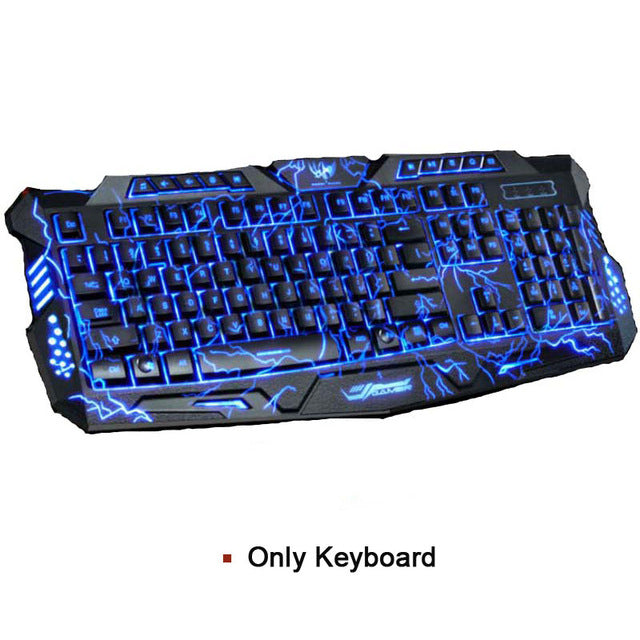 Tri-color  USB Wired LED Backlit  Laptop Computer Gamer Keyboard Mouse Combo Optical Pro 7 Buttons 5500 DPI Gaming Mouse