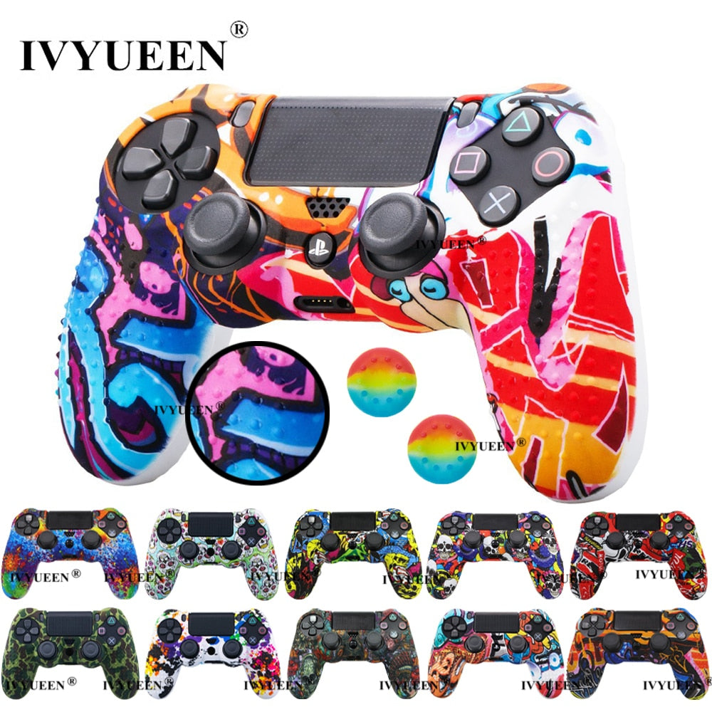 IVYUEEN 25 Colors Anti Slip Silicone Protective Skin Case For Sony PlayStation 4 PS4 DS4 Pro Slim Controller Thumb Grip Caps