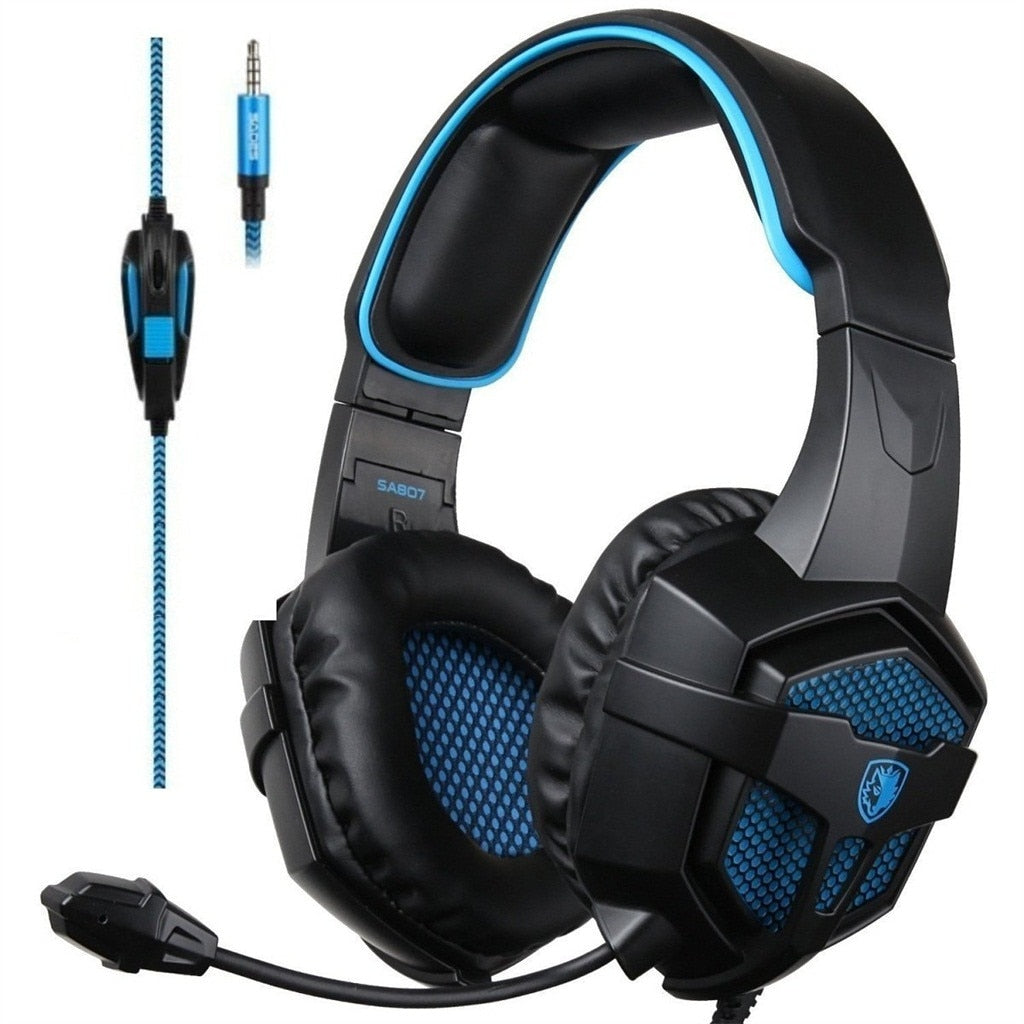 SADES SA807 3 in 1 Gaming Headset 7.1 Surround Sound 3.5MM Olug Cable Effect Game Headphones with Mic for PC PS4 XBOX 360