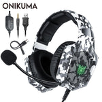 ONIKUMA K8 Stereo Gaming Headset Over Ear Wired Headphone with Microphone LED Lights Bass Surround for PS4/XBox One/Laptop/Games