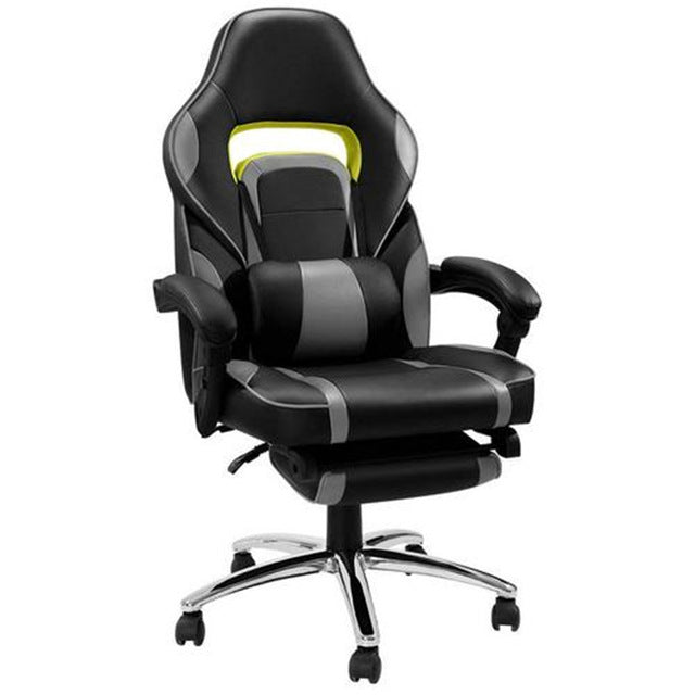 Artificial Leather Game Chair Office Chairs With Pillow Foot Pad Seat Back Adjustable Lifting Tilt Swivel Chair HWC