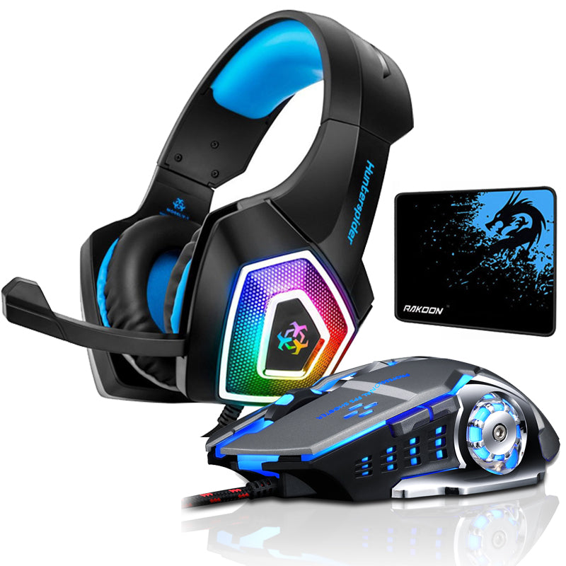Hunterspider V1 Stereo Gaming Headset Deep Bass Over-Ear Game Headphone with Mic LED Light for PS4 PC+Gaming Mouse+Mice Pad