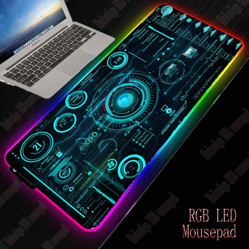 Mairuige Cool Line Abstract Gaming RGB Large Mouse Pad Gamer Big Mouse Mat Computer Mousepad Led Backlight  Keyboard Desk Mat