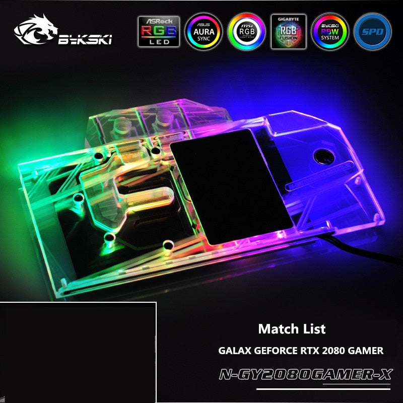 Bykski Full Coverage GPU Water Block For VGA GALAX GEFORCE RTX 2080 GAMER  Graphics Card N-GY2080GAMER-X