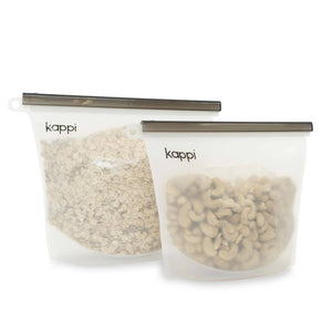 KAPPI Reusable Silicone Ziplock Bags 1500ml (2-Pack)