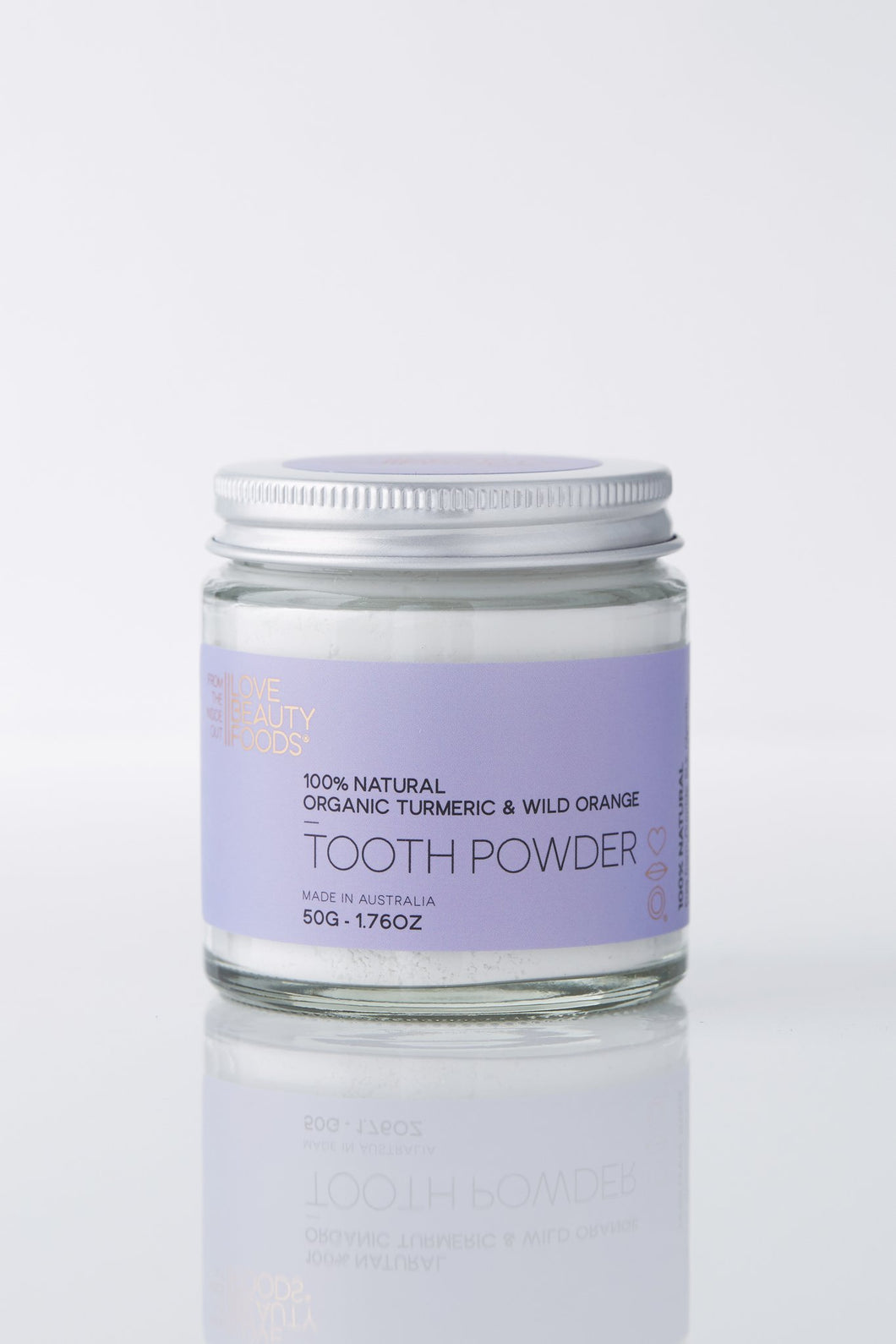 LOVE BEAUTY FOODS ORGANIC TURMERIC & WILD ORANGE TOOTHPOWDER