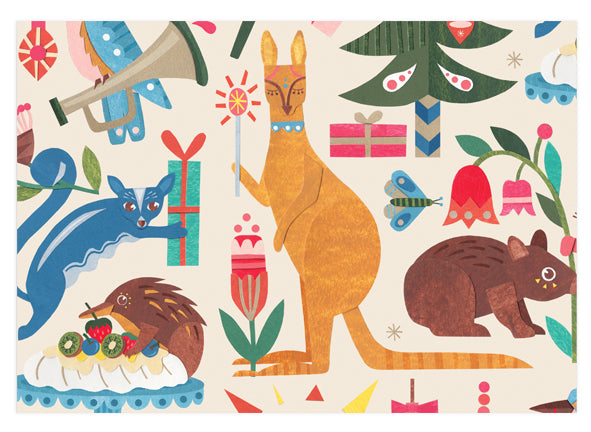 Earth Greetings Folded Wrapping Paper - Festive Fauna
