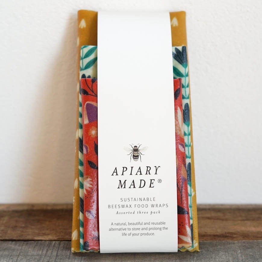 APIARY MADE ASSORTED THREE PACK BEESWAX WRAPS: COLOURFUL KITCHEN
