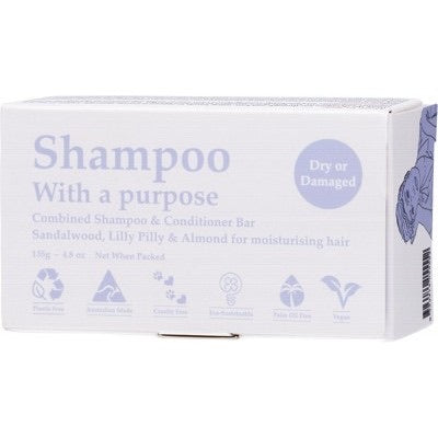 SHAMPOO WITH A PURPOSE Shampoo & Conditioner Bar Dry Or Damaged Hair 135g