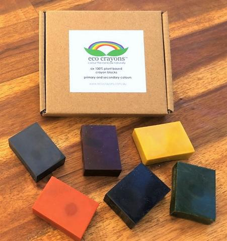 ECO CRAYONS BLOCKS - 6 COLOUR BOX: plant based natural crayons
