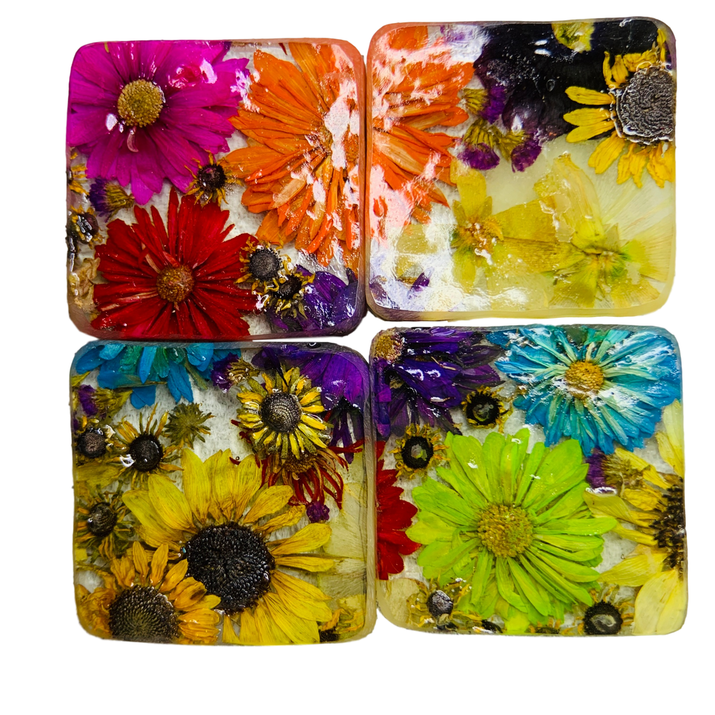 Square Cork Coaster Set with Hand-Pressed Flowers - 4 Piece