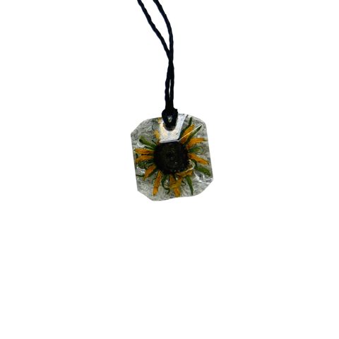 Hand-pressed Sunflower in Necklace