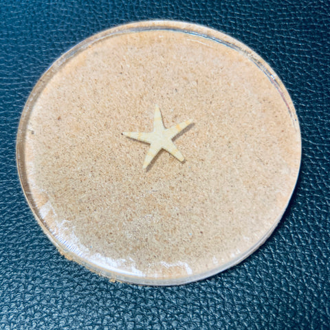Clear cork coaster with Starfish