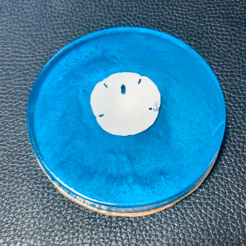 Ocean Blue Coaster with Sand Dollar