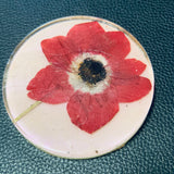 White Coaster with Hand Pressed Flower