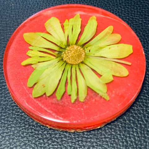 Red Blossom Coaster with Yellow Flower