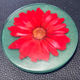 Green Coaster with Pressed Flower