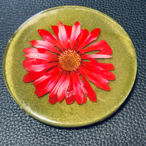Avocado Coaster with Red Flower