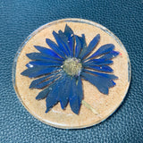 Clear Cork Coaster with Hand-Pressed Flower