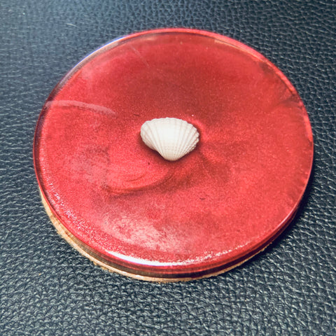 Red Coaster with Seashell