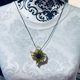 Texas Shaped Necklace with Pressed Flower