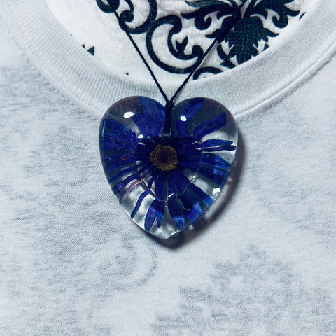 Heart-Shaped Necklace with Pressed Flower