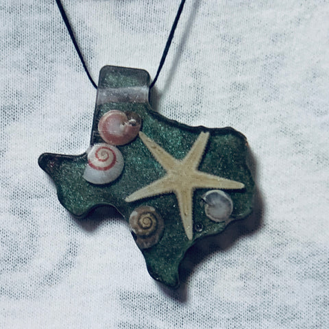 Texas Shaped Necklace with Various Shells