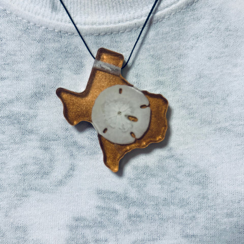 Texas Shaped Necklace with Seashell