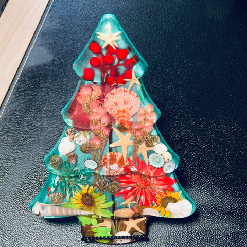 Christmas Tree with Hand Pressed Flowers and Shells