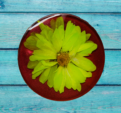 Red Coaster with Hand-Pressed Flower
