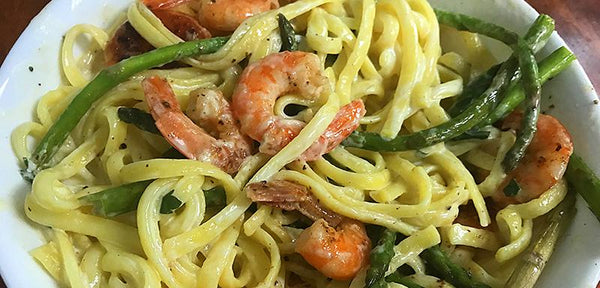 VIDEO RECIPE: Lemon Linguine Alfredo with Shrimp and Asparagus