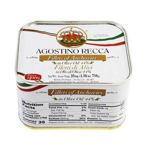 Agostino Recca Anchovies Fillets in Olive Oil Tin, 25 oz (710 g) Seafood Agostino Recca