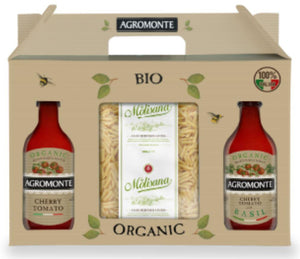 Organic penne pasta with two types of organic tomato sauce.
