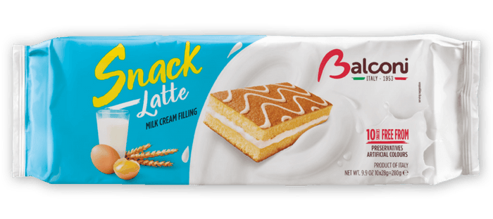 Balconi Snack Latte Cakes with Milk Cream Filling, 280 grams